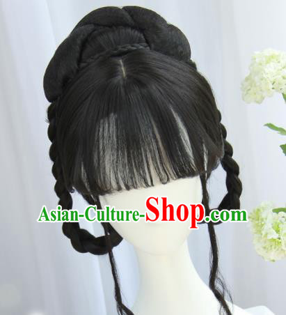 Handmade Chinese Traditional Hanfu Blunt Bangs Wigs Sheath Ancient Nobility Lady Chignon for Women