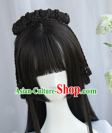 Handmade Chinese Traditional Hanfu Blunt Bangs Wigs Sheath Ancient Princess Chignon for Women