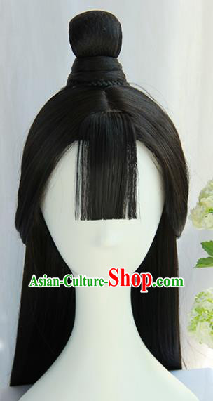 Handmade Chinese Traditional Tang Dynasty Hanfu Blunt Bangs Wigs Sheath Ancient Princess Chignon for Women