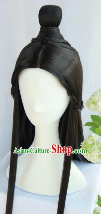 Handmade Chinese Traditional Han Dynasty Hanfu Wigs Sheath Ancient Princess Chignon for Women