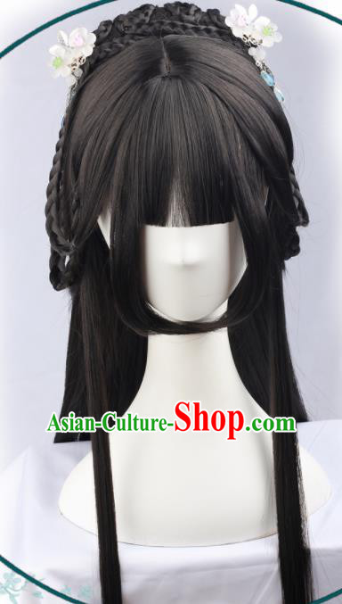 Handmade Chinese Traditional Princess Hanfu Blunt Bangs Black Wigs Sheath Ancient Nobility Lady Chignon for Women