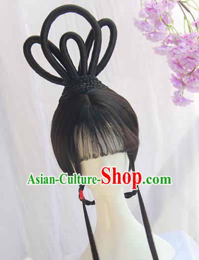 Handmade Chinese Traditional Hanfu Wigs Sheath Ancient Peri Chignon for Women