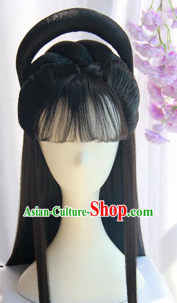 Handmade Chinese Ancient Princess Chignon Traditional Hanfu Wigs Sheath for Women