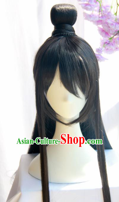 Chinese Traditional Knight Hanfu Wigs Sheath Ancient Swordsman Hairpiece Handmade Chignon for Men