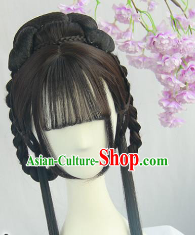 Handmade Chinese Ancient Princess Blunt Bangs Chignon Traditional Hanfu Wigs Sheath for Women