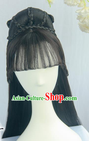 Handmade Chinese Ancient Ming Dynasty Princess Headpiece Chignon Traditional Hanfu Wigs Sheath for Women