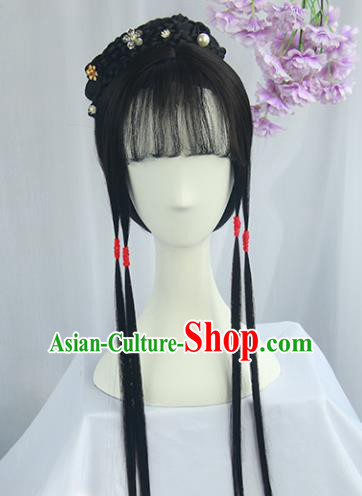 Handmade Chinese Ancient Ming Dynasty Nobility Lady Headpiece Chignon Traditional Hanfu Wigs Sheath for Women