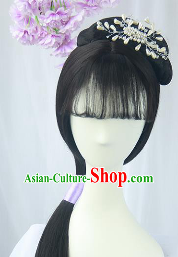 Handmade Chinese Ancient Ming Dynasty Maidservants Headpiece Chignon Traditional Hanfu Wigs Sheath for Women