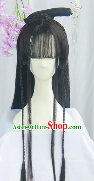 Handmade Chinese Ancient Ming Dynasty Princess Headpiece Chignon Traditional Hanfu Blunt Bangs Wigs Sheath for Women