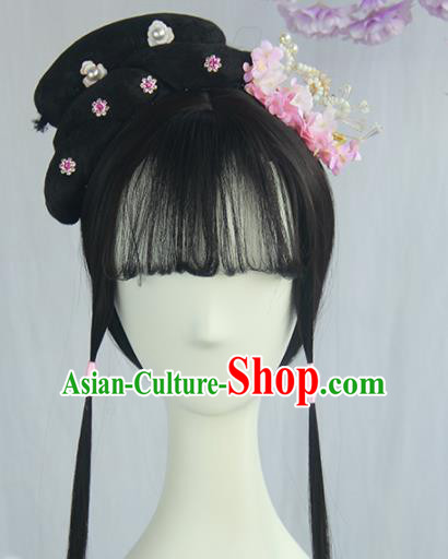 Handmade Chinese Ancient Ming Dynasty Young Lady Headpiece Chignon Traditional Hanfu Blunt Bangs Wigs Sheath for Women