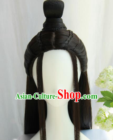 Chinese Traditional Hanfu Wigs Sheath Ancient Swordsman Hairpiece Handmade Chignon for Men