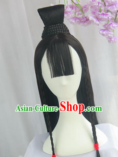 Handmade Chinese Ancient Jin Dynasty Swordswoman Headpiece Chignon Traditional Hanfu Wigs Sheath for Women