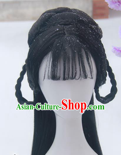 Handmade Chinese Ancient Peri Headpiece Chignon Traditional Hanfu Blunt Bangs Wigs Sheath for Women
