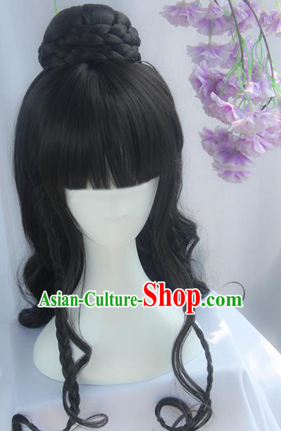 Handmade Chinese Ancient Headpiece Chignon Traditional Princess Hanfu Curly Wigs Sheath for Women
