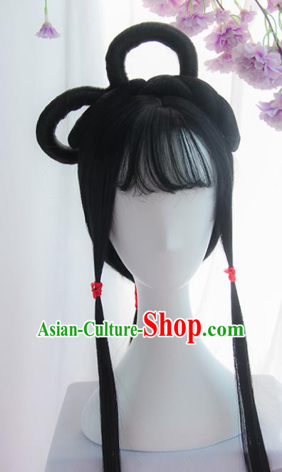 Handmade Chinese Ancient Headpiece Chignon Traditional Hanfu Blunt Bangs Wigs Sheath for Women