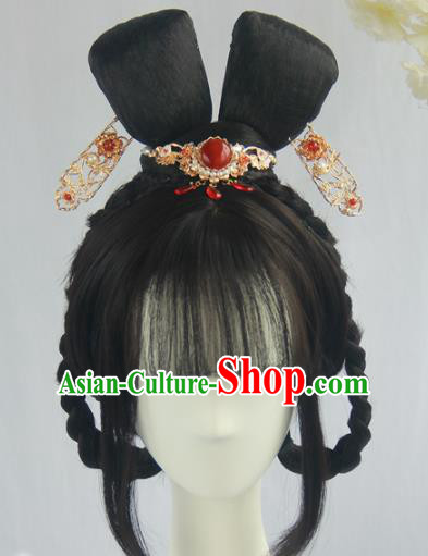 Handmade Chinese Ancient Song Dynasty Princess Headpiece Chignon Traditional Hanfu Blunt Bangs Wigs Sheath for Women
