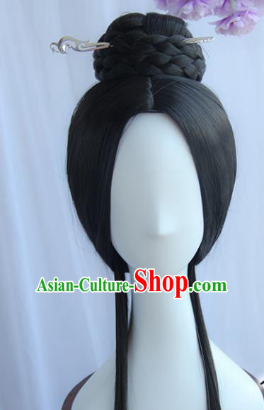 Handmade Chinese Ancient Han Dynasty Princess Headpiece Chignon Traditional Hanfu Blunt Bangs Wigs Sheath for Women