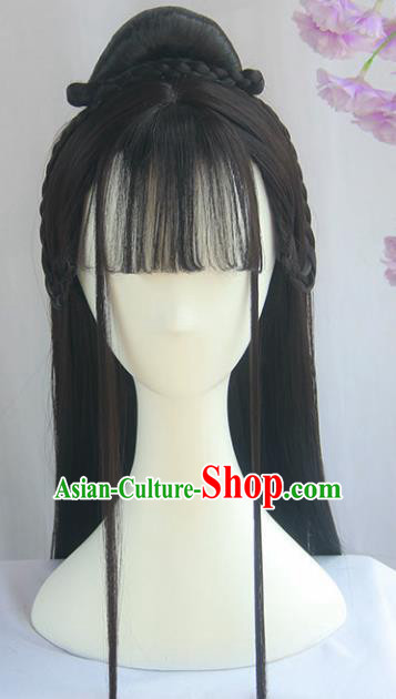 Handmade Chinese Ancient Song Dynasty Headpiece Chignon Traditional Hanfu Blunt Bangs Wigs Sheath for Women
