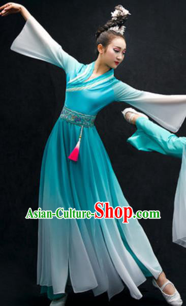 Chinese Classical Dance Costume Traditional Umbrella Dance Light Blue Dress for Women