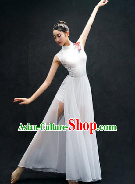 Chinese Classical Dance Fan Dance Costume Traditional Umbrella Dance White Dress for Women