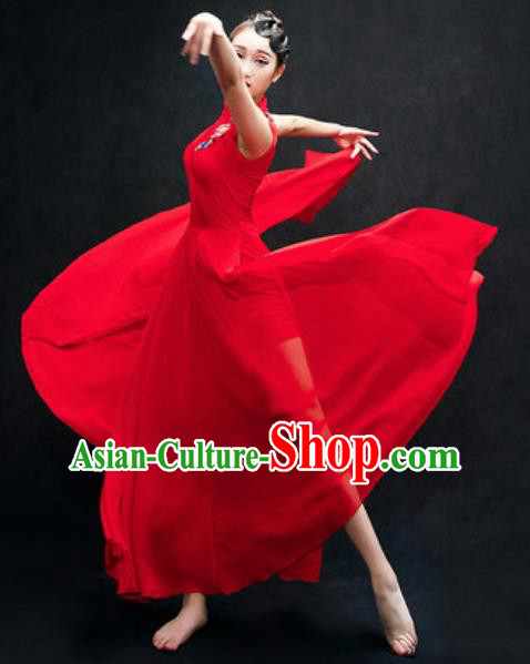 Chinese Classical Dance Fan Dance Costume Traditional Umbrella Dance Red Dress for Women