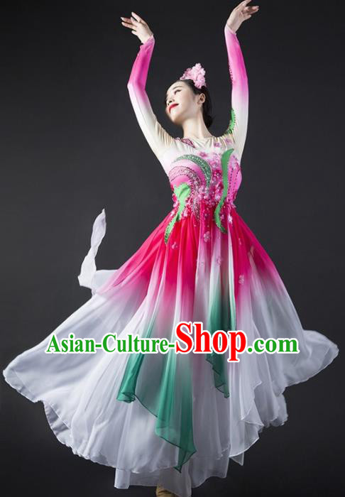 Chinese Classical Dance Stage Performance Costume Traditional Spring Festival Gala Dance Rosy Dress for Women