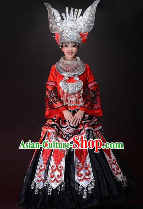 Chinese Miao Nationality Ethnic Dance Costume Traditional Hmong Wedding Bride Red Dress and Headwear for Women