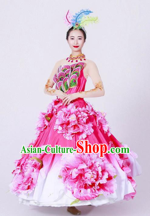 Chinese Spring Festival Gala Classical Dance Costume Traditional Opening Dance Peony Rosy Dress for Women