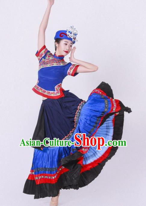 Chinese Yi Nationality Ethnic Dance Costume Traditional Minority Dance Blue Dress for Women