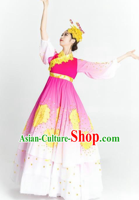 Chinese Korean Nationality Ethnic Dance Costume Traditional Minority Dance Pink Dress for Women