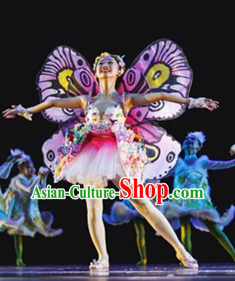 Chinese Modern Dance Stage Performance Costume Traditional Butterfly Dance Dress for Kids