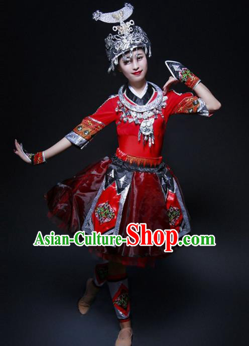 Chinese Miao Nationality Ethnic Dance Costume Traditional Hmong Minority Dance Red Bubble Dress for Women