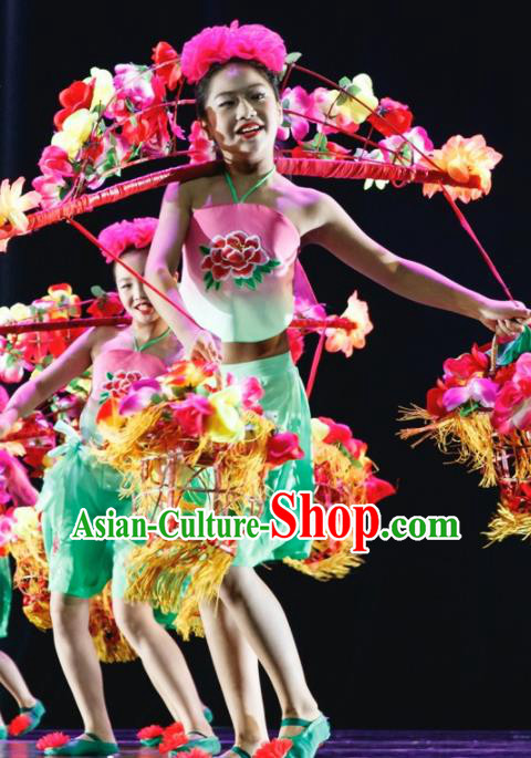 Chinese Folk Dance Stage Performance Costume Traditional Yangko Dance Green Clothing for Kids