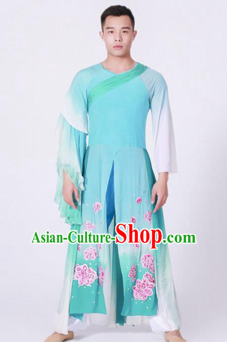 Chinese Classical Dance Stage Performance Blue Costume Traditional Group Dance Clothing for Men