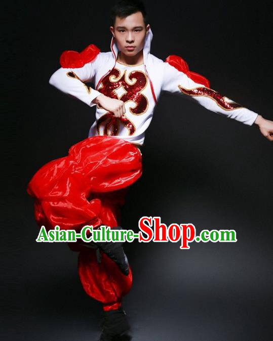 Chinese Folk Dance Yangko Costume Traditional Drum Dance Stage Performance Red Clothing for Men