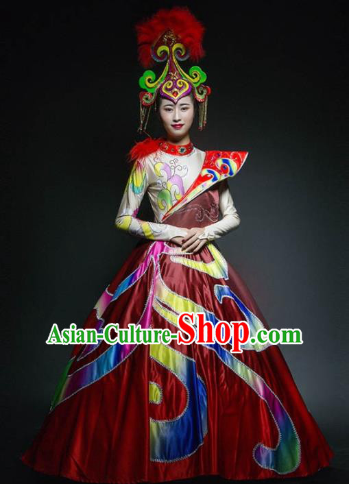 Chinese Modern Dance Stage Costume Traditional Spring Festival Gala Opening Dance Red Dress for Women