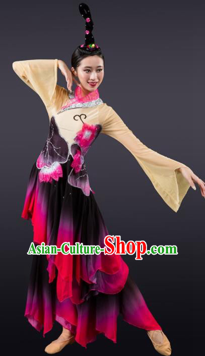 Chinese Classical Dance Umbrella Dance Costume Traditional Stage Performance Dress for Women