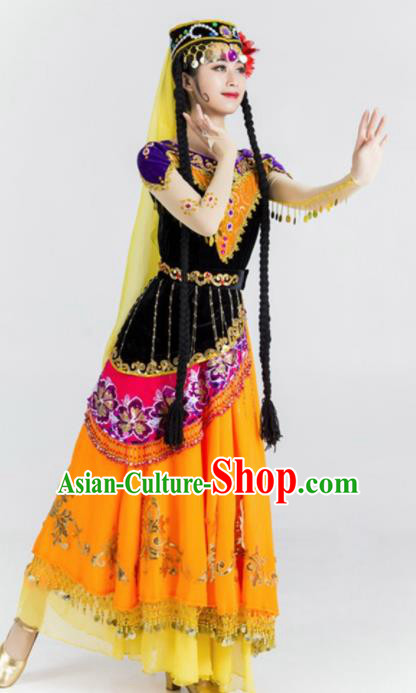 Chinese Traditional Uyghur Nationality Ethnic Dance Costume Uigurian Minority Folk Dance Dress for Women