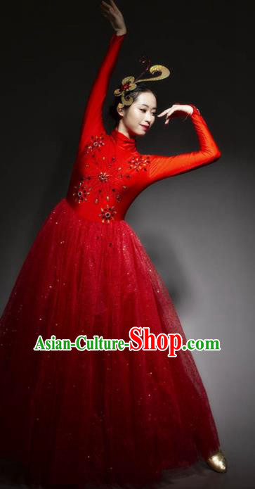 Chinese Modern Dance Stage Costume Traditional Spring Festival Gala Opening Dance Red Veil Dress for Women