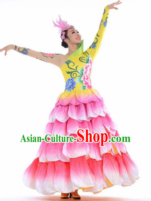 Chinese Modern Dance Stage Costume Traditional Spring Festival Gala Opening Dance Pink Dress for Women