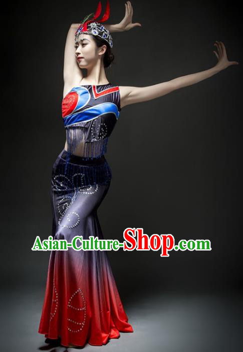 Chinese Traditional Dai Nationality Ethnic Dance Costume Minority Peacock Dance Dress for Women