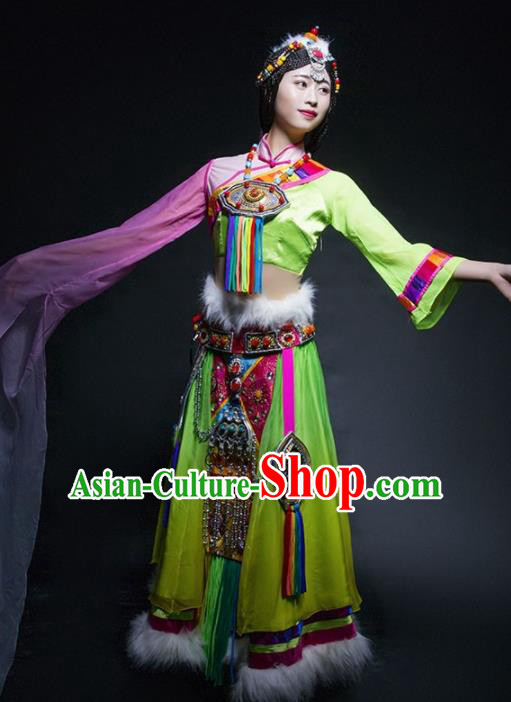 Chinese Traditional Zang Nationality Ethnic Dance Costume Tibetan Minority Folk Dance Green Dress for Women