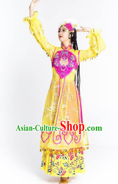 Chinese Traditional Uyghur Nationality Ethnic Dance Costume Uigurian Minority Folk Dance Yellow Dress for Women