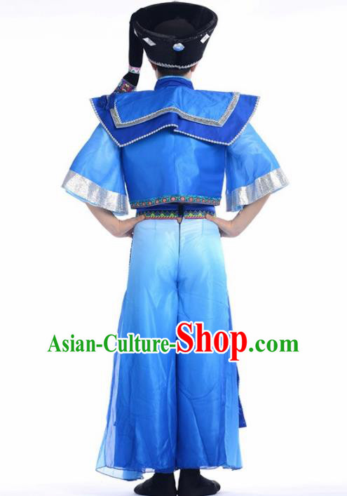 Chinese Miao Nationality Ethnic Dance Costume Traditional Hmong Minority Dance Blue Clothing for Men