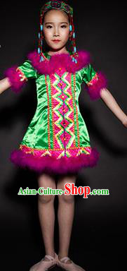 Chinese Evenki Nationality Stage Performance Costume Traditional Ethnic Minority Green Clothing for Kids