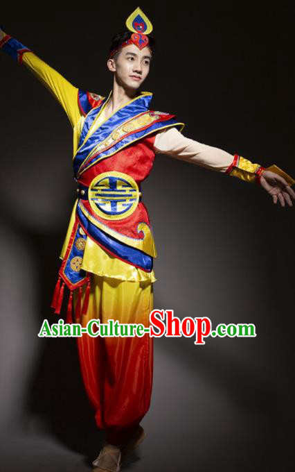 Chinese Traditional Drum Dance Stage Performance Costume Folk Dance Clothing for Men