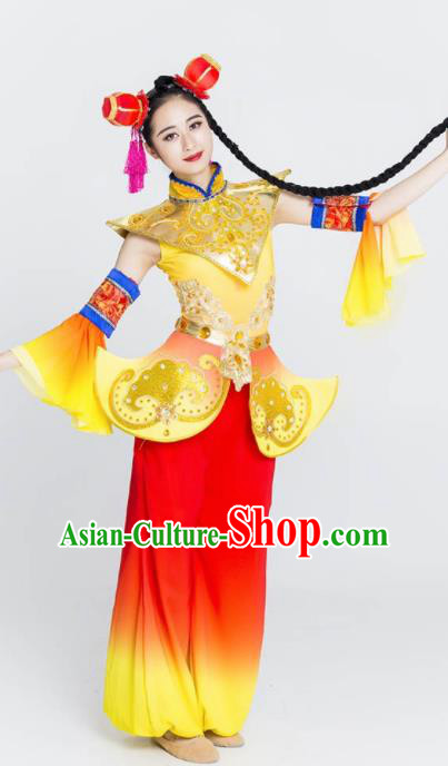 Chinese Traditional Yangko Stage Performance Costume Folk Dance Drum Dance Clothing for Women