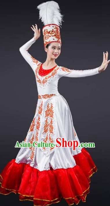 Chinese Spring Festival Gala Stage Costume Traditional Modern Dance Opening Dance Red Dress for Women