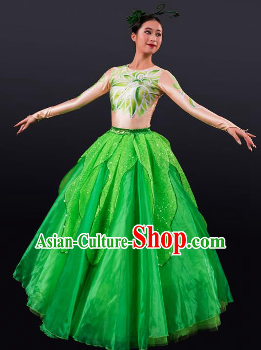 Chinese Spring Festival Gala Stage Green Veil Dress Traditional Modern Dance Opening Dance Costume for Women