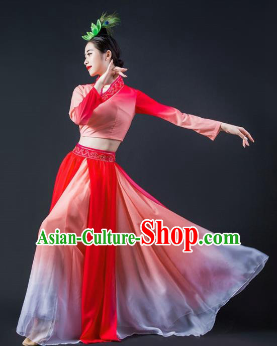 Chinese Classical Dance Lotus Dance Red Dress Traditional Umbrella Dance Stage Performance Costume for Women